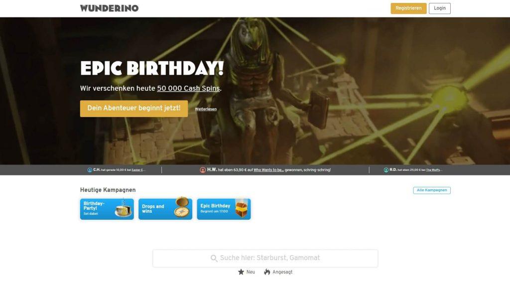 Wunderino Casino Startseiten Bild