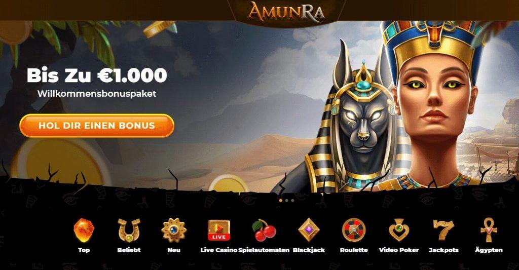 Startseite des AmunRa Casinos