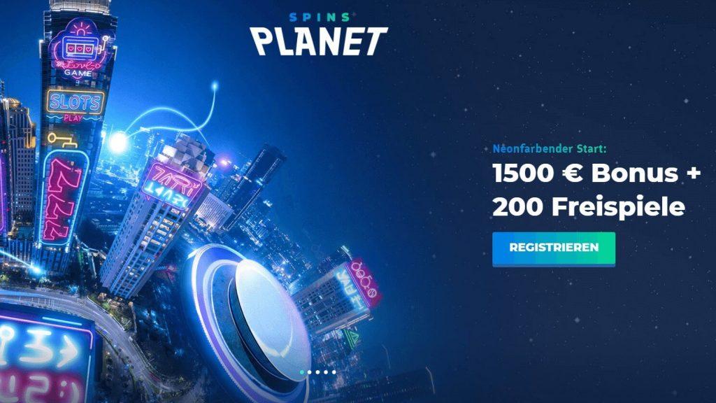 Startseite bei Spins Planet